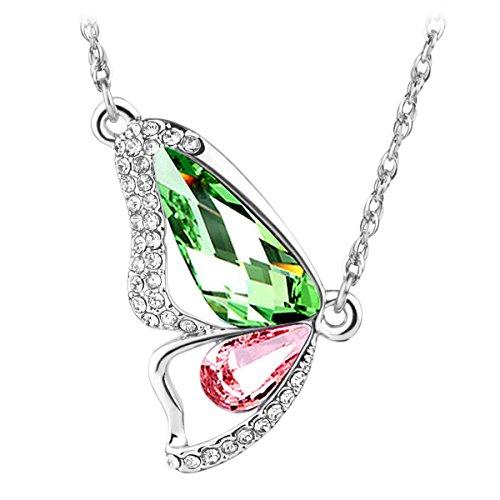 Le Premium® - Collana ciondolo Farfalla con cristalli Swarovski Elements di Peridoto verde e rosa chiaro + Gift Box