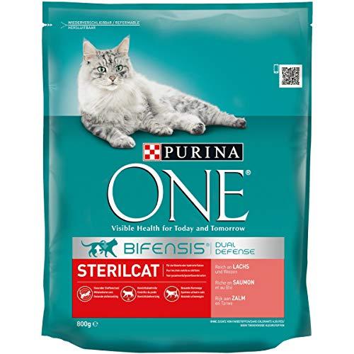 Purina ONE BIFENSIS Sterilcat Katzentrockenfutter: für kastrierte Katzen, reich an Lachs & Weizen, gesunder Stoffwechsel, 8er Pack (8 x 800 g)