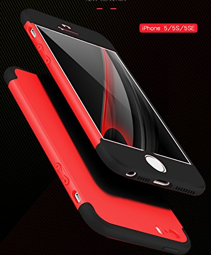 iPhone SE Hülle, Wouier® 3 in 1 Ultra Dünner PC Harte Case 360 Grad Ganzkörper Schützend Anti-Kratzer Schutzhülle für Apple IPhone 5 5s SE Red+Black