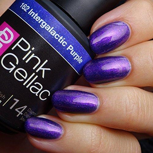 Vernis à ongles Pink Gellac 162 Intergalactic Purple. 15 ml gel Manucure et Nail Art pour UV LED lampe, top coat résistant shellac