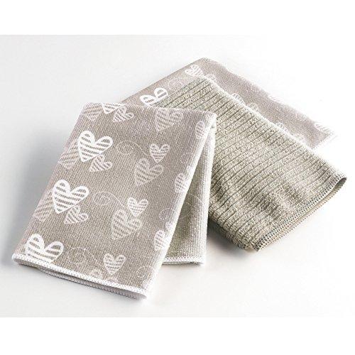 Ligne Décor Easy Deco Lot de 3 Torchons Microfibre 2 Imprimes/1 Uni Polyester Taupe 40 x 40 x 40 cm