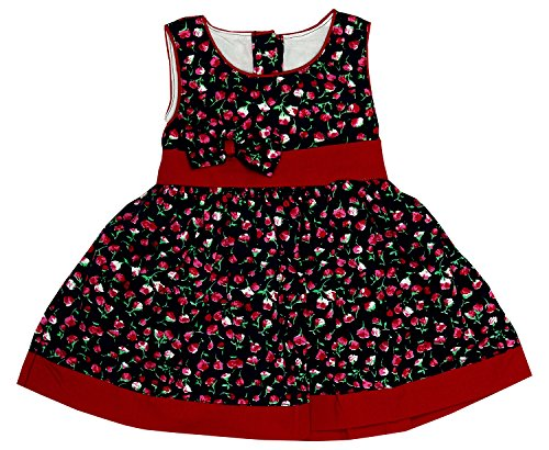 R & S Kids Baby Girl'S Dress (R&S Small Flower Magenta 2--3-6 Months_Magenta And Black_3 - 6 Months)