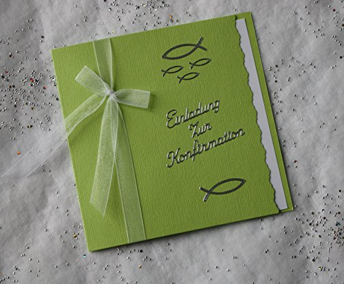 10 Einladungskarten zur Konfirmation Einladung maigrün Schriftzug silber incl. Umschlag *Handarbeit*