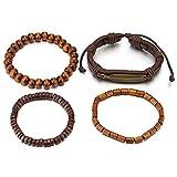 COOLSTEELANDBEYOND Mischen von 4 Braun Wickeln Um Strap Armband Herren Damen, Feder Bettelarmband, Perlen Holz Leder Armband Schweissband