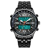 Men's Fashion Analog-Digital Black Steel Band Wrist Watch