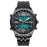 Men's Fashion Analog-Digital Black Steel Band Wrist Watch