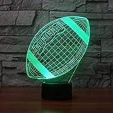3D Illusion Nachtlampe 3D-Illusion Lampen LED Rugby American Football Form Nachtlicht Weihnachten Valentines Geburtstags-Geschenk for Fans Kinder Spielzeug 7 Farbwechsel Touch-USB-Tischdekorationen