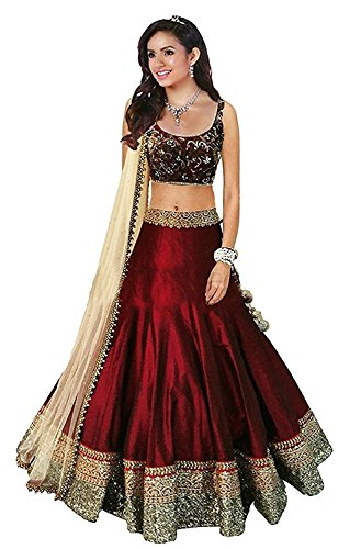Angel\'s Fashions Women\'s Art Silk Un-stiched Lengha Choli (Red)