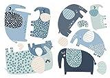 Wandtattoo Kinderzimmer Deko Pastell Set Elefanten mit Muster blau Afrika Tiere