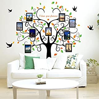 Zhiyu&art decor Huge Family Tree Photo Frame Wall Decals Removable Wall Decor Decorative Painting Supplies & Wall Treatments Stickers for Living Room Bedroom (Green Tree)