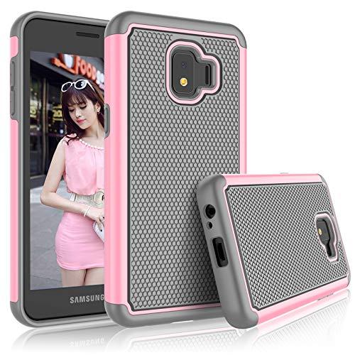 Schutzhülle für Galaxy J2 Core Samsung J2 Dash / J2 Pure / J260 für Mädchen, Tekcoo [Tmajor] Stoßdämpfendes Gummi-Silikon & Kunststoff Kratzfest Bumper Griff niedliche stabile Hartschale, Babyrosa T-mobile Dash-serie