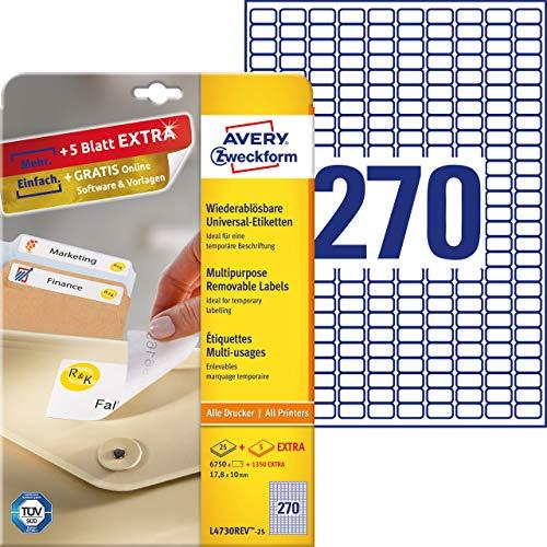 AVERY Zweckform L4730REV-25 Universal-Etiketten (17,8x10mm auf DIN A4, wieder rückstandsfrei ablösbar/abziehbar, bedruckbar, selbstklebend, 6750 Klebeetiketten Plus 1350 Etiketten extra, 30Blatt) weiß
