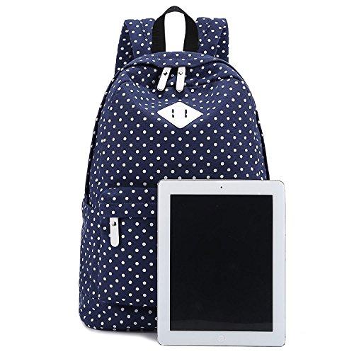 Imagen de  de tela para chicas, estilo casual, ligera, diseño de lunares, para ordenador portátil azul oscuro alternativa