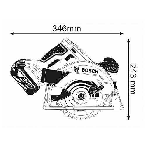 Bosch Professional GKS 18V-57 G Akku-Kreissäge, mit 2 x 18 V 5,0 Ah Akku, Schnitttiefe: 57 mm (bei 90°), L-Boxx, 06016A2100 - 3