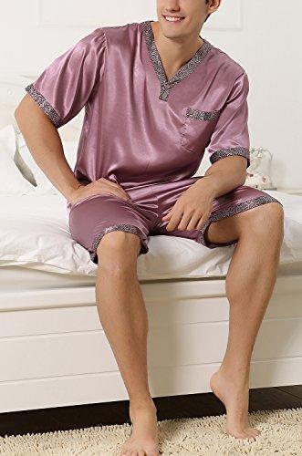 Dolamen Herren Schlafanzug Schlafanzughosen, Satin Kurz Zweiteiliger Pyjamas Frühling Sommer, Herren Schlafanzug mit Kurze Ärmel & Unterteile, V-Ausschnitt mit Tasche L XL XXL Lila