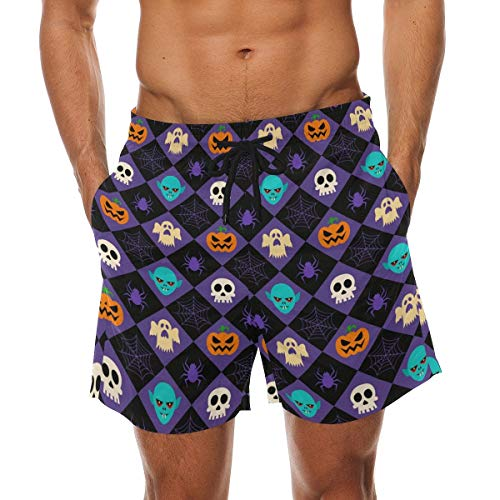 BHWYK Men's Halloween Rhombus Elements Beach Board Shorts Quick Dry Swim Trunkfor Summer Vacations M-XXL Code(M) (Halloween-dress-code Für Männer)