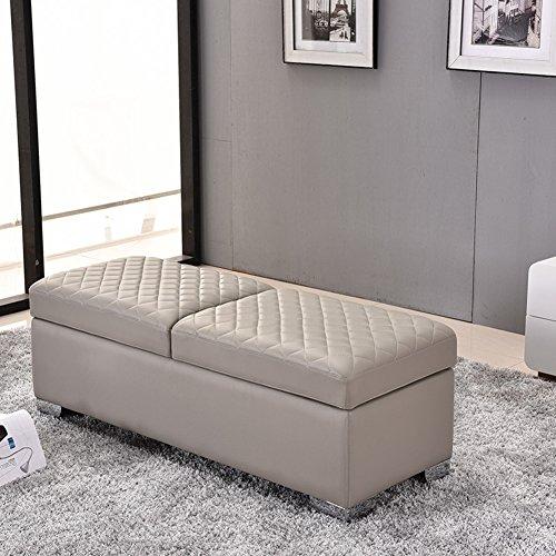 LJXJ Moderne Sofa, Massivholz Lagerung Schuh Bank, Lagerung-hocker mit Leder Kissen, Platz sparend Schuh-Box Multifunktionale Schuhschrank, Bekleidungsgeschäft Schlafzimmer-B 47x18x16in