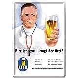 Nostalgic-Art 16297 Open Bar - Bier ist gut. sagt der Arzt, Blechpostkarte 10x14 cm