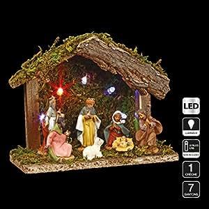 3 en 1 ensemble de no l 1 cr che lumineuse ses 7 santons 1 eclairage led. Black Bedroom Furniture Sets. Home Design Ideas