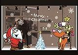 heekpek Weihnachts Dekoration Aufkleber Weihnachtsmann Elch Cartoon Aufkleber Wohnkultur Tür Kühlschrank Küche Spiegel Aufkleber Vorhang Shop Dekoration Wiederver wendbarer PVC Aufkleber