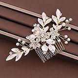 LFDHG Vintage Haarkämme Blätter Perlen Hochzeit Haarschmuck Für Braut Handgemachte Kristall Blume Haarschmuck Tiara Frauen Kopfschmuck
