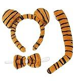Tiger Set Tigerset Leopardenset 3tlg Schwanz,Schleife u Haarreif mit Ohren