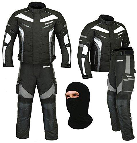 PROFIRST Wasserdichtes Motorrad Klage Gewebe (Jacke + Hose + Balaclava) Motorrad CE gepanzerte Kleidung für alle Wetter - 6 Packs Entwurf (Grau/Grey, Medium) - Motorrad-kleidung