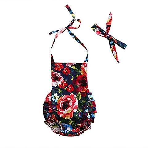 Baby Girl Bodysuit Newborn Infant Kids Floral Romper Princess Sleeveless Backless Halter Jumpsuit + Headdress Outfits 2Pcs Sunsuit (0-24 Months, Red) -Mystyles (0-6