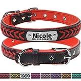 Vcalabashor Hundehalsband mit Namen und Telefonnummer,Hundehalsband Anh?nger mit Gravur,Hundehalsband Leder,M 29-38cm,Rot
