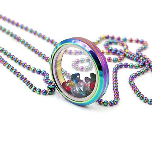 EVERLEAD regenbogen - schwebenden medaillon halskette aus edelstahl 316l medaillon anhaenger - GLP047Q30-C029Q72