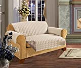 3 Seater Sofa REVERSIBLE Protector CREAM/BEIGE 63'' x 70.5'' Luxury Quilted Furniture Cover Sofa/Settee THROW Water Resistant by Viceroy Bedding
