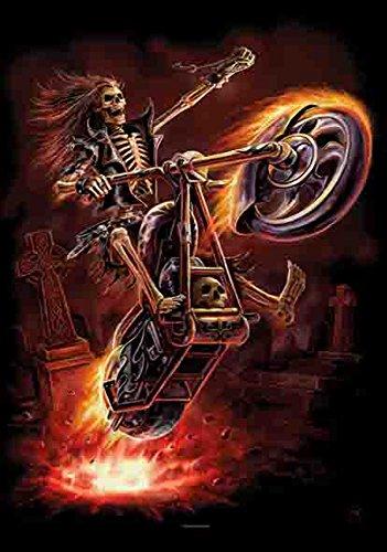 Clair Biker Fire Moto Véhicule de feu Poster - Drapeau 100% polyester - Taille 75 x 110 cm