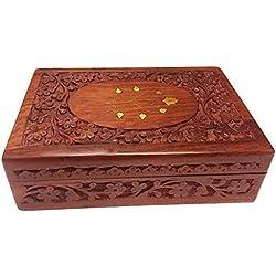 Regalo de la acción de gracias para sus seres queridos Caja de madera caja de joyería de la vendimia entalladuras 10x6 pulgadas de latón, joyas caja de almacenamiento, caja decorativa