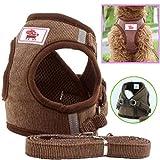 Z ZHIZU Hundegeschirr Reflektierend atmungsaktiv für große, mittelgroße, Mittlere & Kleine Hunde Geschirr Hund Katze Brustgeschirr Dog Harness (XL, Braun)