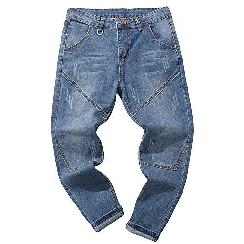 Jeans casual uomo straight fit landfox jeans casual denim pantaloni da uomo da lavoro vintage in cotone denim vintage lavato vintage da uomo jeans uomo larghi alla caviglia retro mens jeans blu 2