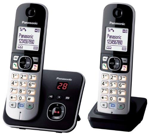 Panasonic KX-TG6822 - Teléfono inalámbrico (DECT, 2 unidades), color negro [Importado de Francia]