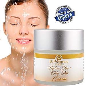 Crema hidratante facial 50ml piel grasa, mixta y acnéica. Hombre o mujer. Anti edad con Ácido Hialurónico, Vitamina A, E. Hidrata la cara o rostro sin dejar brillo. Adolescentes, jóvenes y adultos
