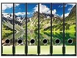 6 Ordnerrücken Motiv-Aufkleber BERGLANDSCHAFT - Format 65 x 300 mm - passend für 6 breite Standard Din-A4-Ordner mit 7,5 oder 8,0 cm Rückenbreite