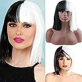 eseewigs Halloween las mujeres Corto Bob Recta de seda con Bangs Sintético Negro y Blanco señoras de dos tonos color Cosplay Pelucas Para Las Mujeres