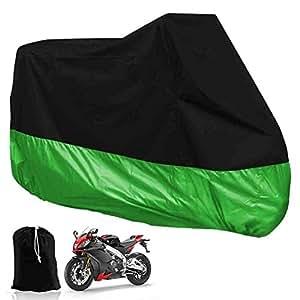 DeliaWinterfel XXL Coperta Telone per Moto Motocicletta per Garage or Esterno Piegabile con Tasche- Verde e Nera, 265 x 105 x 125 cm by