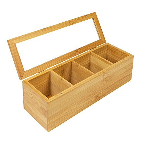Woodluv Boîte de rangement à 4 compartiments pour sachets de thé, en bambou  et acrylique