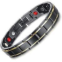 University Trendz 18 k Gold Plated Titanium Health Care Therapy Bio Energy Energy Bracelet for Men(Black)