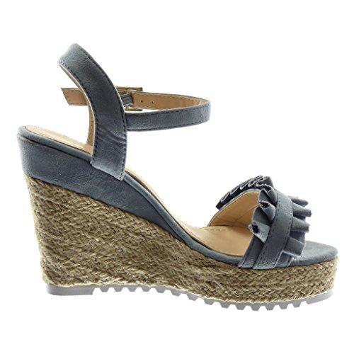 Angkorly Chaussure Mode Sandale Espadrille Lanière Cheville Semelle Basket Plateforme Femme Corde Tréssé à Volants Talon Compensé Plateforme 11.5 cm Bleu
