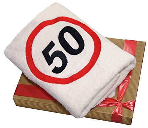 Abc-Casa Geschenk zum 50 Geburtstag Handtuch mit aufgesticktem Verkehrszeichen für Mann und Frau-Ein dauerhaft nützliches 50 Jahre Geburtstagsgeschenk-Eine praktische 50 jähriges Jubiläum Geschenkidee (29-jährige Frauen)