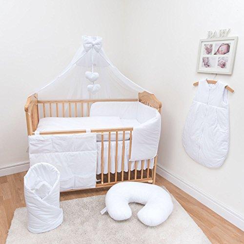 10-teiliges Baby Bettwäsche Set passend zu 140x70cm Kinderbett - - Bettwäsche Kinderbett Weiße Stoßstange