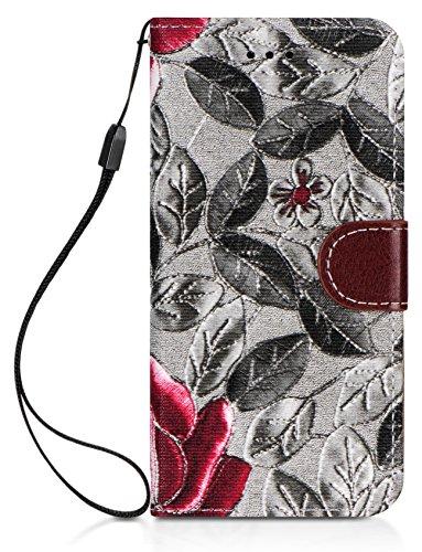 DONZO Tasche Handyhülle Cover Case für das Apple iPhone 6 / 6S in Grau Wallet Travel als Etui seitlich aufklappbar im Book-Style mit Kartenfach nutzbar als Geldbörse Wallet Flowers Grau