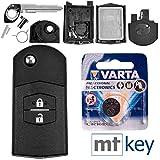 Mazda Autoschlüssel Funk Fernbedienung Austausch Gehäuse mit 2 Tasten + Rohling + Batterie für Mazda 5 CW 2 DE 3 BK 6 SW BT-50 CX-9 CX-7 A