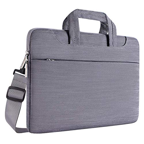 MOSISO Notebooktasche Kompatibel 13-13,3 Zoll MacBook Pro, MacBook Air, Notebook Computer, Denim Stoff Laptop Schultertasche Sleeve Hülle Umhängetasche mit Griff & Gurt, Grau