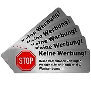 5 x Keine Werbung Aufkleber für Briefkasten (6,7 x 2,1 cm klein) - Bitte keine kostenlosen Zeitungen und Reklame einwerfen - Keine kostenlose Zeitung - Briefkastenaufkleber - Selbstklebend - Edelstahl