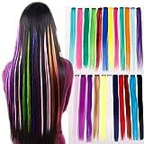 EROSPA® Bunte Haarsträhne mit Clip zum Einclipsen - 55 cm - Haarteil Extension (Dunkelblau #23)